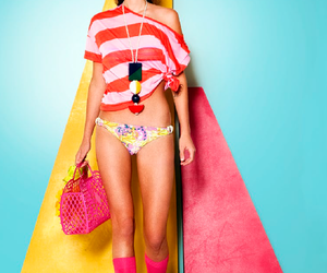 bikini, color splash, and pink image