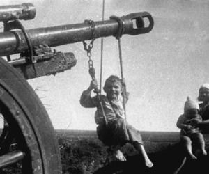 war, black and white, and kids image