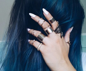 blue hair, rings, and white nails image