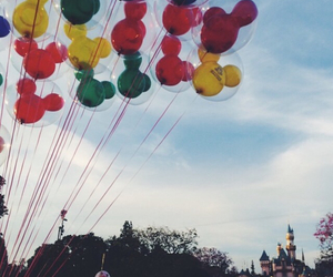 balloons, castle, and disney image