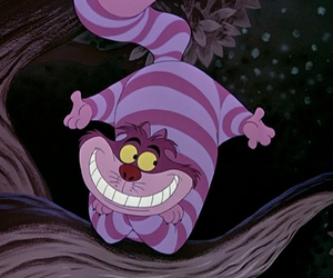 alice in wonderland, mad, and Cheshire cat image