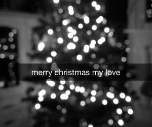 black and white, tree, and christmas image