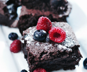 blueberries, brownie, and chocolate image