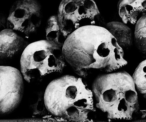 skull, black and white, and death image