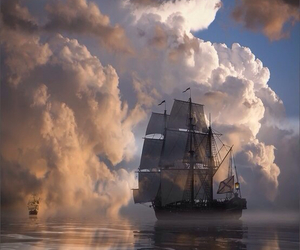 ship, clouds, and ocean image
