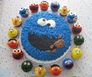 cookie monster, cake, and cupcake image