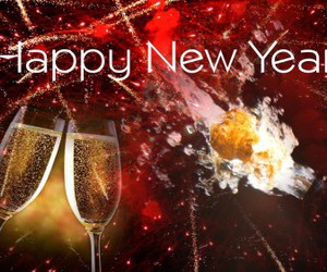 bottle, glass, and happy new year image