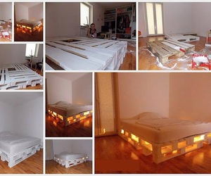 bed, diy, and light image