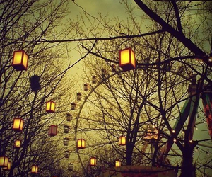 light, tree, and ferris wheel image