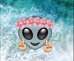 alien, flowers, and emoji image