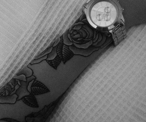 ink, roses, and tattoo image