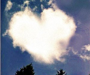 clouds, heart, and sky image