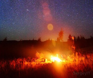 campfire, man, and night image