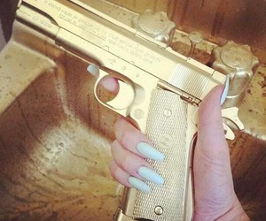 gun, gold, and nails image
