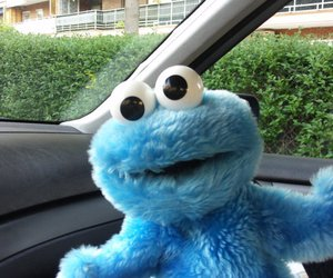 car, cookie monster, and blue image