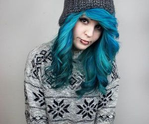 blue hair and scene image