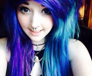 piercing, dyed hair, and emo image