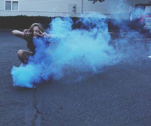 grunge, blue, and smoke image