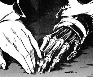 black&white, hands, and manga image