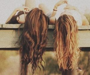 best friends, blond hair, and brown hair image