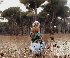 girl, field, and tree image