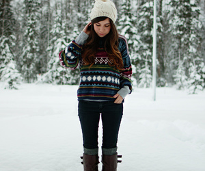 boots, snow, and sweater image