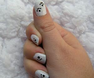 black & white, dog, and nail art image