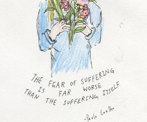 quote, flowers, and drawing image