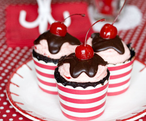 cherry, chocolate, and cupcake image