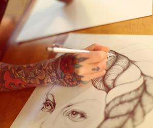 drawing, sleeve, and tattoo image