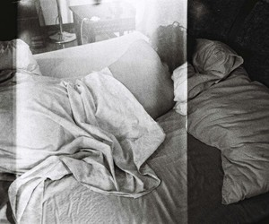 bed, black and white, and bw image