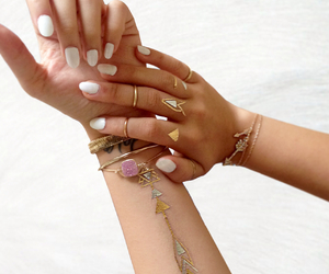 gold, hands, and nail image