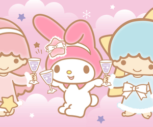 my melody, sanrio, and little twin stars image