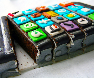 cake, iphone, and food image