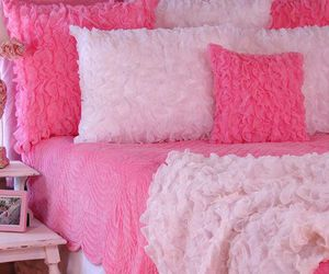 bed, girly, and pink image