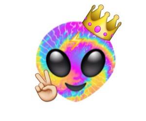 emoji, alien, and tie dye image