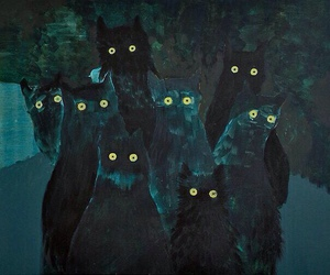 cat, art, and night image