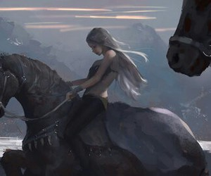 girl, horse, and art image