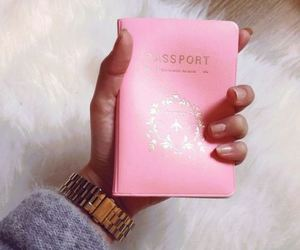 pink, passport, and travel image