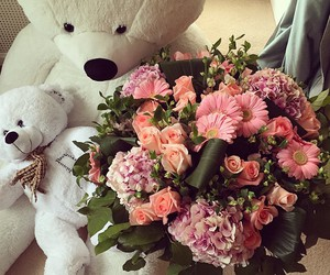 flowers, love, and bear image