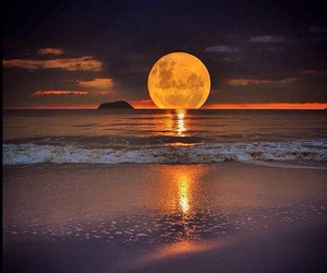 moon, sea, and beach image