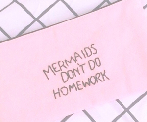 mermaid, pink, and homework image