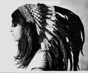 indian, black and white, and feather image