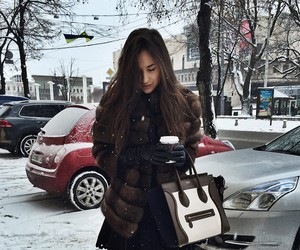 girl, bag, and winter image