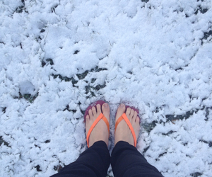 cold, flip flops, and winter image