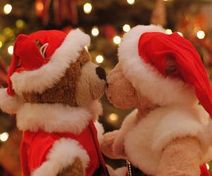christmas, bear, and kiss image