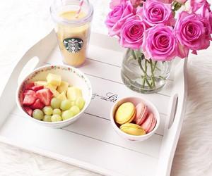fruit, starbucks, and flowers image