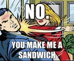 sandwich, funny, and woman image