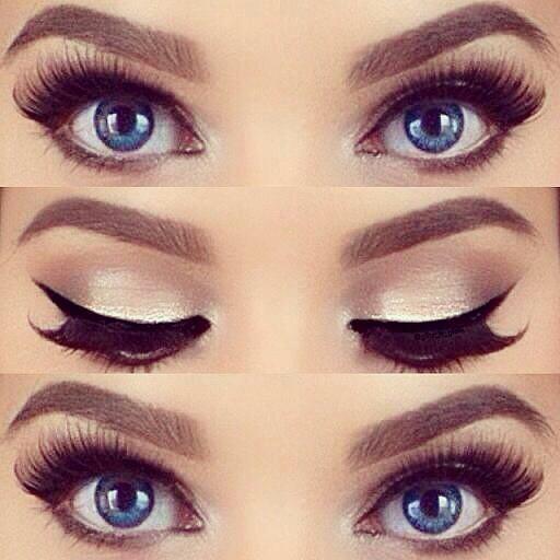 blue eyes, eye makeup, and lashes image