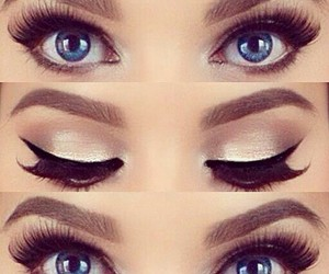 blue eyes, eye makeup, and eyebrows image